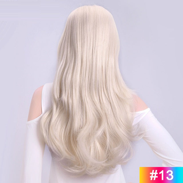 White-Blonde-Long-Wavy-3/4-Women-Half-Wig-Synthetic-Hair-Wigs-with-Clips-in-Hair-Extensions