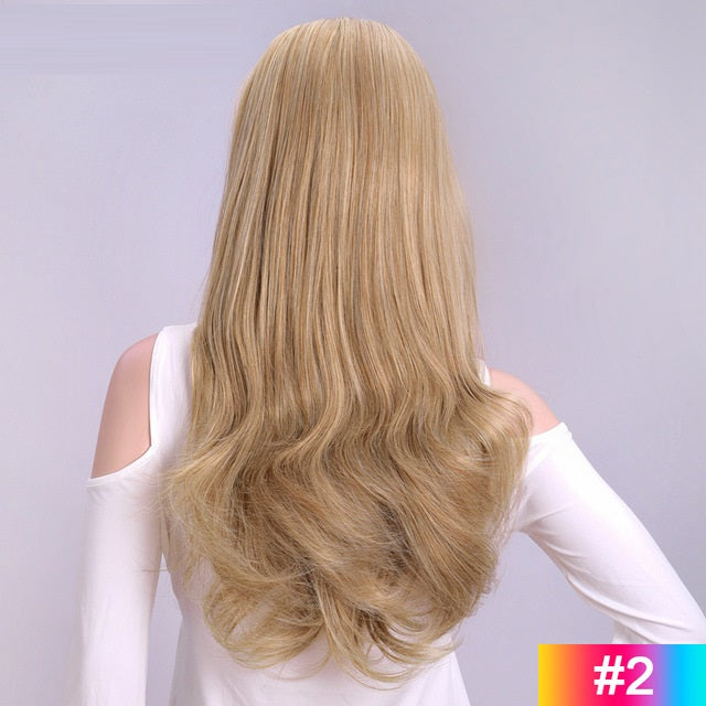 Blonde-Long-Wavy-3/4-Women-Half-Wig-Synthetic-Hair-Wigs-with-Clips-in-Hair-Extensions