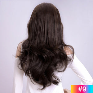 Long-Wavy-3/4-Women-Half-Wig-Synthetic-Hair-Wigs-with-Clips-in-Hair-Extensions-For-White-Women