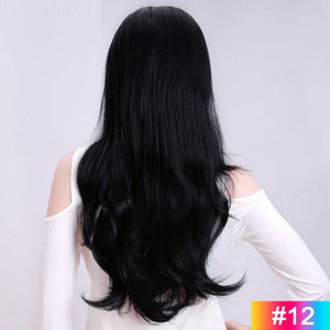 Long-Wavy-3/4-Women-Half-Wig-Synthetic-Hair-Wigs-with-Clips-in-Hair-Extensions