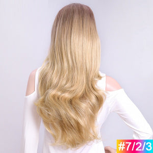 Blonde-Ombre-Long-Wavy-3/4-Women-Half-Wig-Synthetic-Hair-Wigs-with-Clips-in-Hair-Extensions