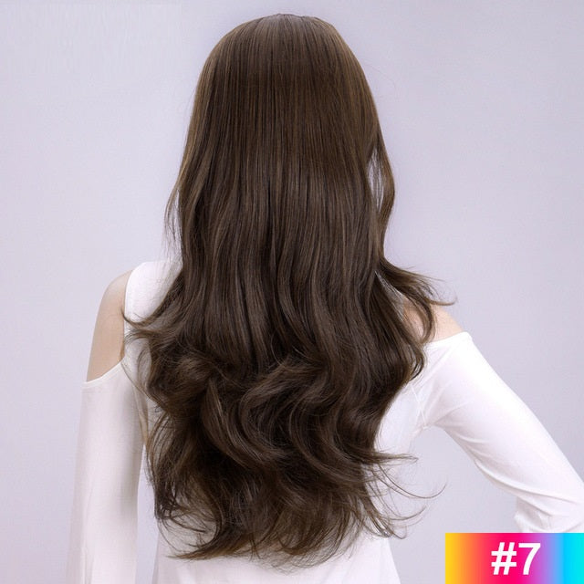 Brown-Long-Wavy-3/4-Women-Half-Wig-Synthetic-Hair-Wigs-with-Clips-in-Hair-Extensions