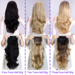 "Mysecret 24"" Curly 3/4 Ladies Half Wig Synthetic Hair Pieces with Comb on a Mesh Head Cap Clip in Hair Extensions"