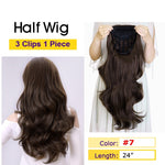 Black-Long-Wavy-3/4-Women-Half-Wig-Synthetic-Hair-Wigs