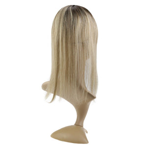 Platinum Blonde Remy Human Hair Topper Wigs For Women With Baldness Or Thin Hair On Crown
