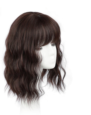 Monofilament Real Remy Clip On Human Hair Wig Toppers With Bangs For Women