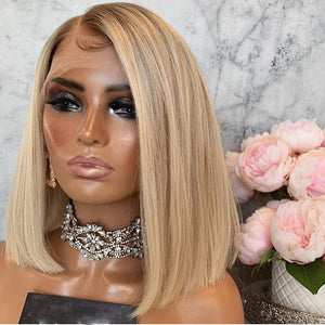 613-Blonde-Bob-Lace-Frontal-Silky-Ombre-Color-13x4-Lace-Front-Wigs-Side-Part