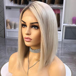 Short Bob Ombre Platium Blonde Lace Front Wigs Full Lace Human Hair Wigs 150 Density