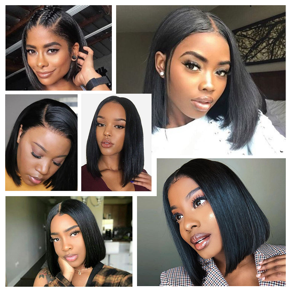 Blonde Lace Front Wig Brazilian 613 Short Bob 13x4 Lace Front Human Hair Wigs For Black Women 1B 613 Lace Front Wig