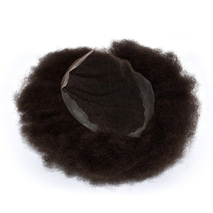 Full Super Fine Welded Mono Lace Indian Remy Hair Mens Short Curly Wigs For Black Men