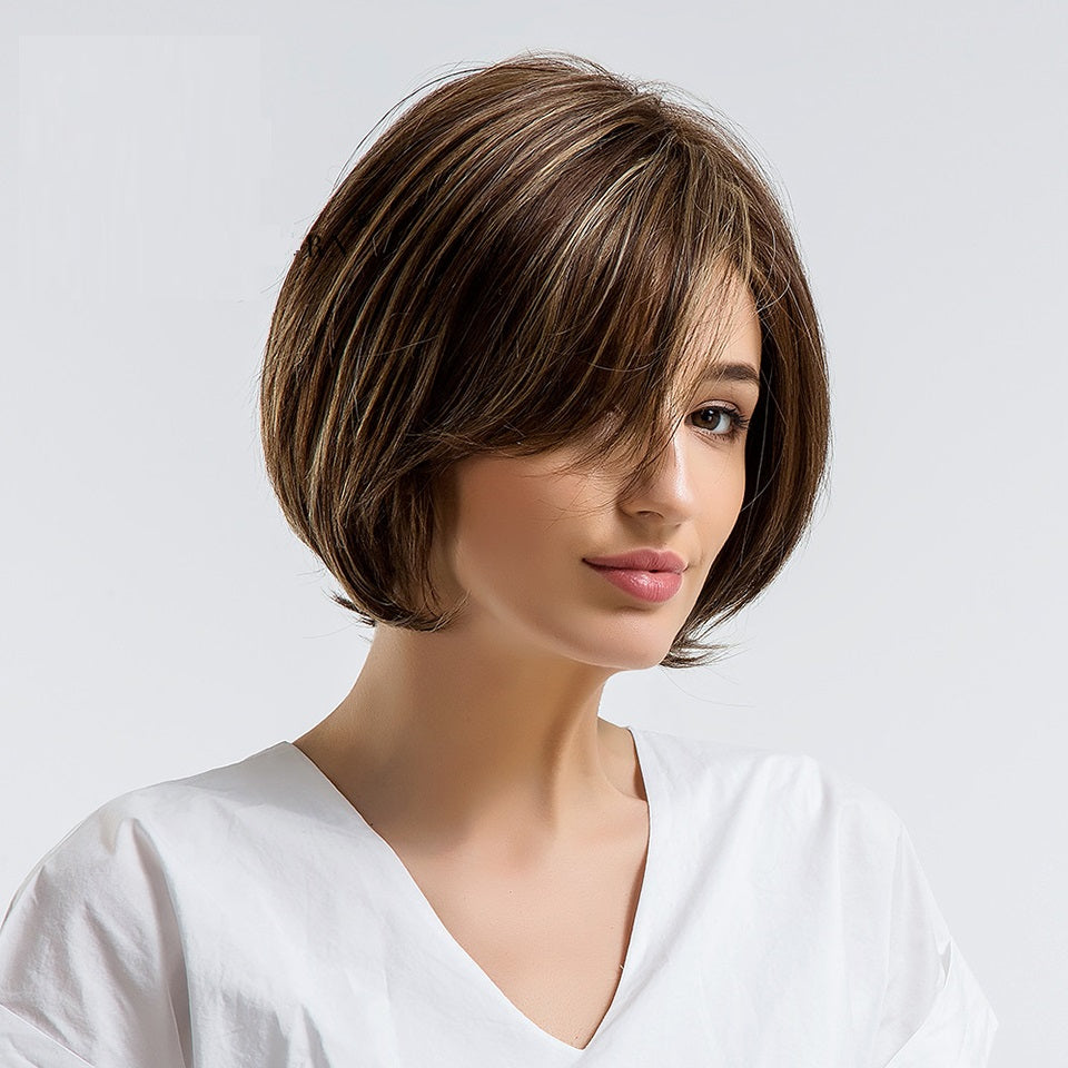 8 Inch Bob Hair Style With Side Bangs Brown Color with Highlights 30% Natural Hair Blend Wigs for White Women