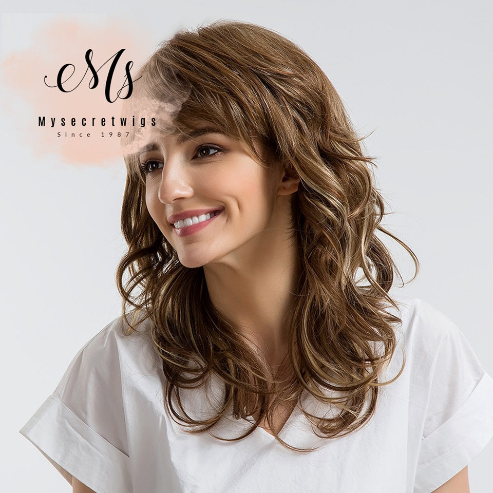 18 Inch 30% Human Hair Wigs Sexy Long Wavy Curly Brown Full Head Wigs With Side Bangs For Women Free Shipping SSS