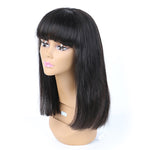 Glueless Lace Front Remy Human Hair Wigs For Women Blunt Bob Wig With Full Bangs