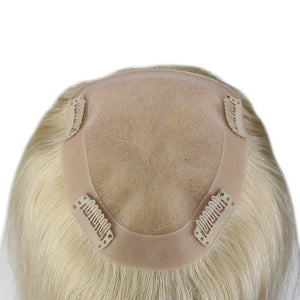 100% Human Hair piece Remy Wiglet Women's Hair Toppers Brown W/Blonde 20 Long