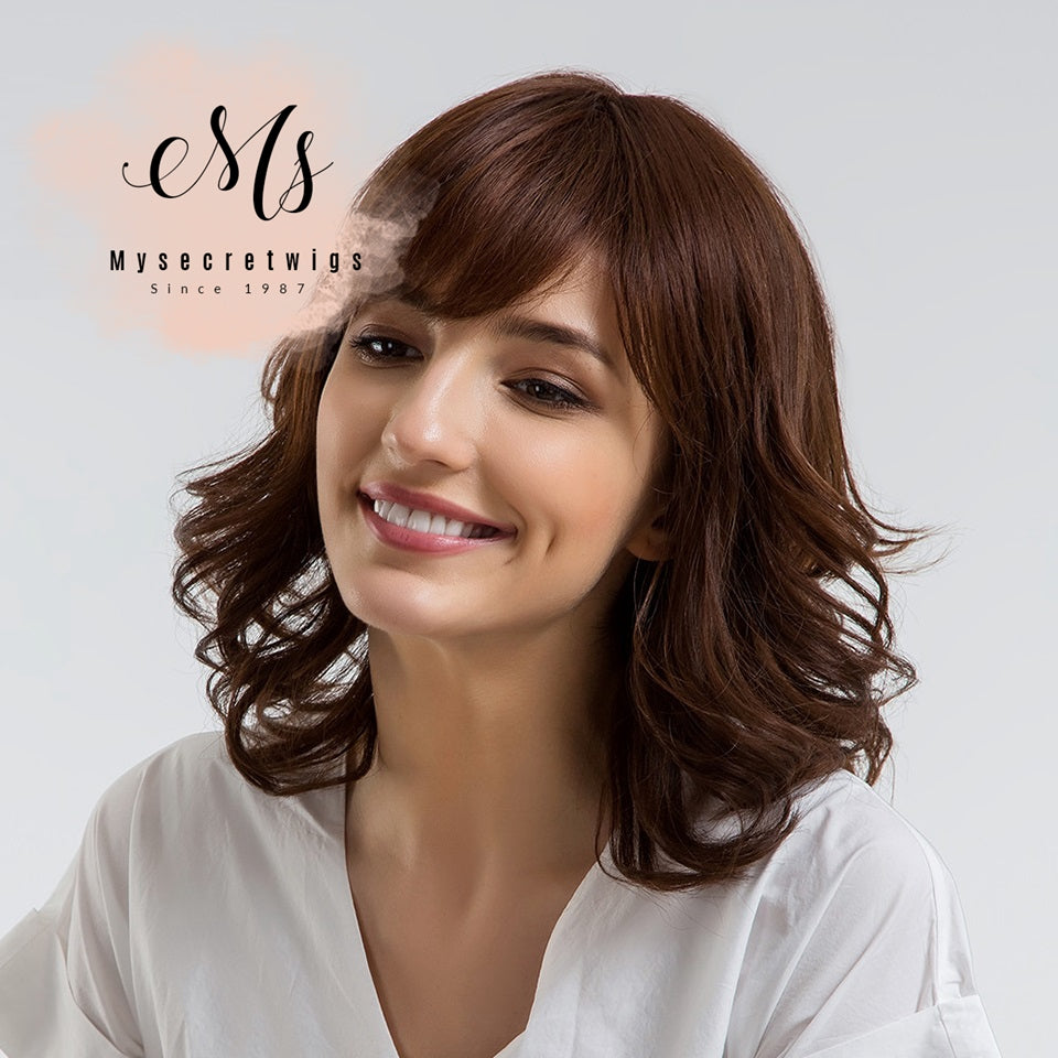 14 Inch Short Bouncy Curly Hair Wig with Bangs Shoulder Length Light Brown 30% Human Hair Capless Full Women Wig