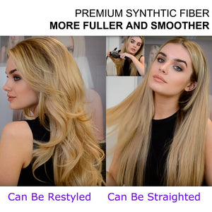 Blonde-Long-Wavy-3/4-Women-Half-Wig-Synthetic-Hair-Wigs