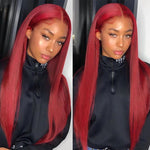 BURG/33/27-180%-Density-Colored-13*4-Glueless-Lace-Front-Human-Hair-wigs-Red-Wig