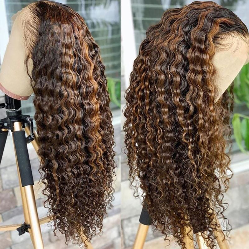 Deep-Wave-Curly-Brazilian-Highlight-Ombre-Lace-Frontal-Human-Hair-Wigs-13x4
