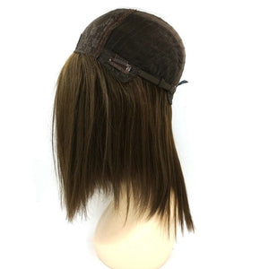 100 European Virgin Human Hair Silk Top Jewish Wigs Dark Brown Highlighted
