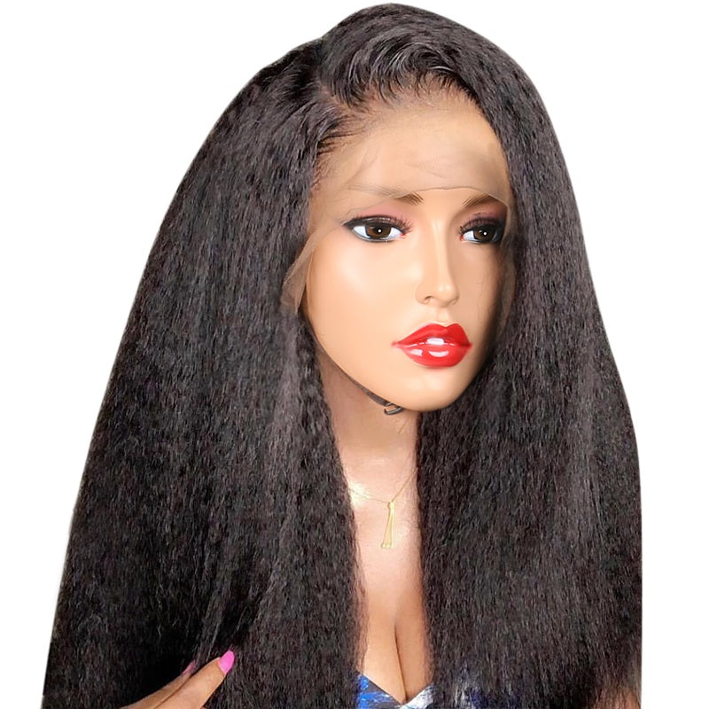 Kinky-Straight-Lace-Front-Human-Hair-Wigs-For-Women-Black-Color-Remy-Brazilian-Lace-Wigs-Plucked
