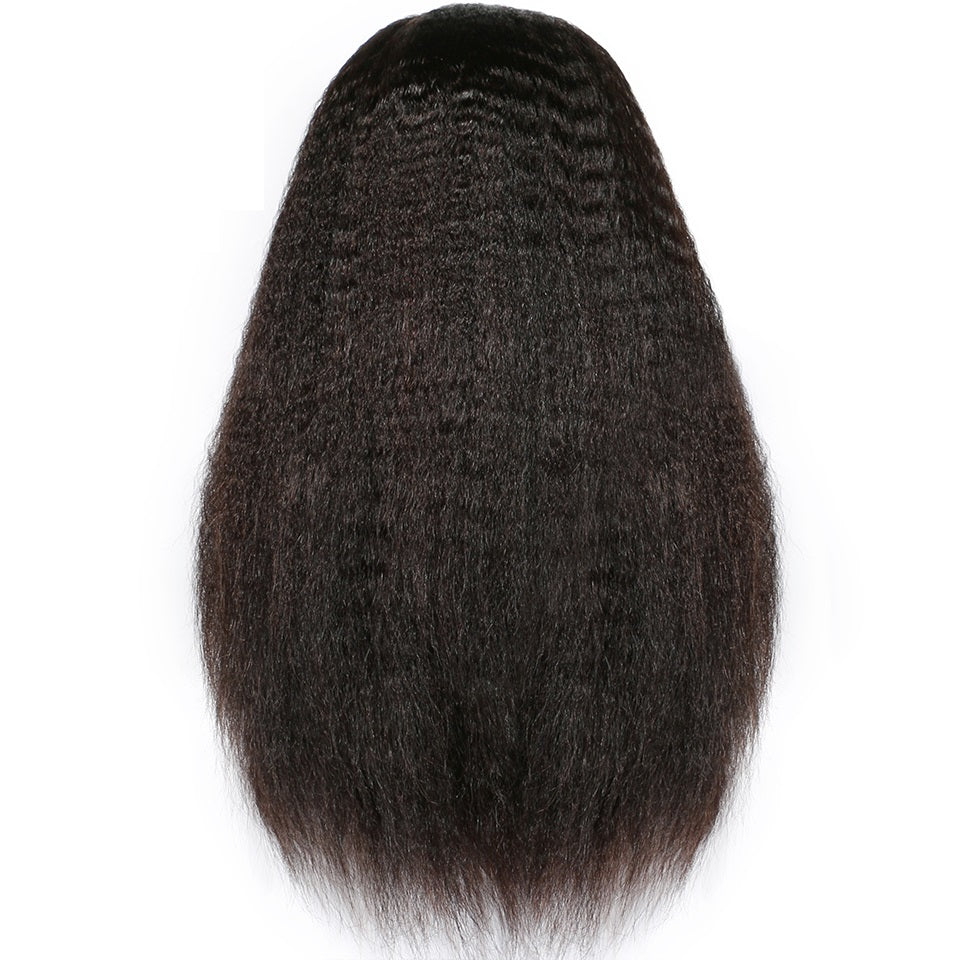 Kinky Straight Lace Front Human Hair Wigs For Women Black Color Remy Brazilian Lace Wigs Plucked With Baby Hair Full End