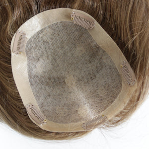 Mayu Medium Light Brown Human Hair Half Wig Toppers Clip On Wiglets Hairpieces