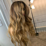 Highlight-Honey-Blonde-Ombre-13x6-Human-Hair-Lace-Front-Wig-Loose-Wave-360-Lace-Frontal