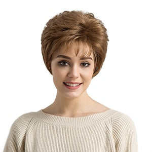 6 Inch Light Brown Highlights Synthetic Wigs For Black/White Women Fluffy Natural Wave African American Short Wig