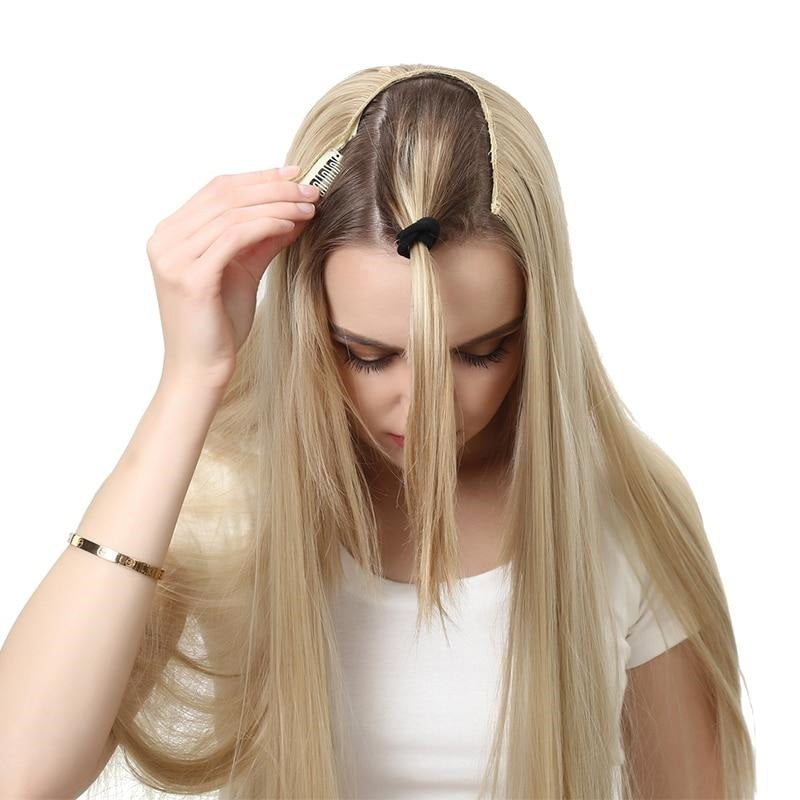 U-Part-One-Piece-Clip-On-Hair-Extensions-Straight-Wavy-Ombre-Full-Head-Long-Natural-Synthetic-Hairpieces