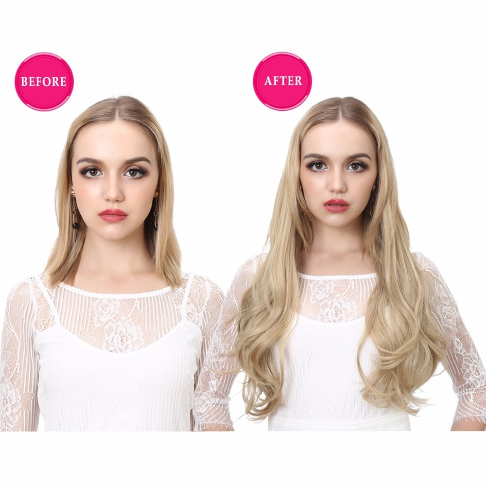 U-Part-One-Piece-Clip-On-Hair-Extensions-Straight-Wavy-Ombre-Full-Head-Synthetic-Hairpieces
