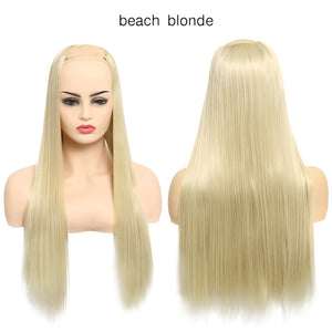 "24"" 170g U-Part  One Piece Clip On Hair Extensions Straight & Wavy Ombre Full Head Long Natural Synthetic Hairpieces"