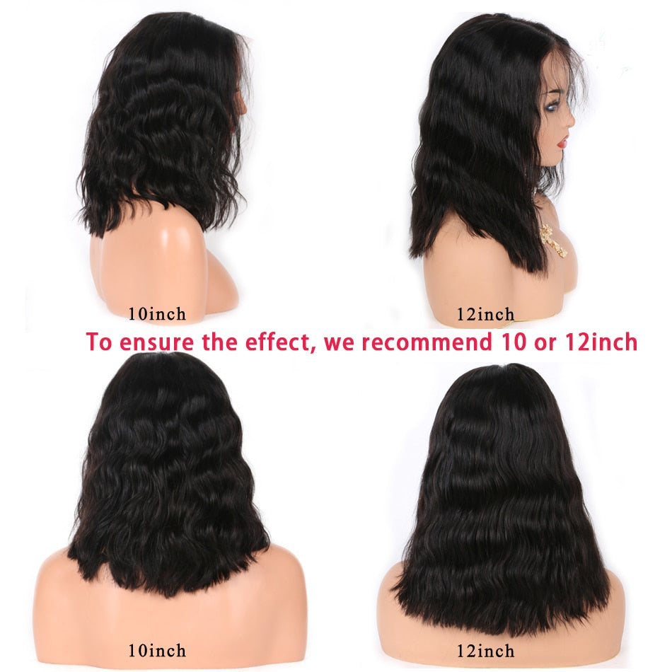 13x6 Short Bob Lace Front Wigs Human Hair Natural Wave Indian Non-remy Natural Black Pre Plucked Bleached Knots For Women