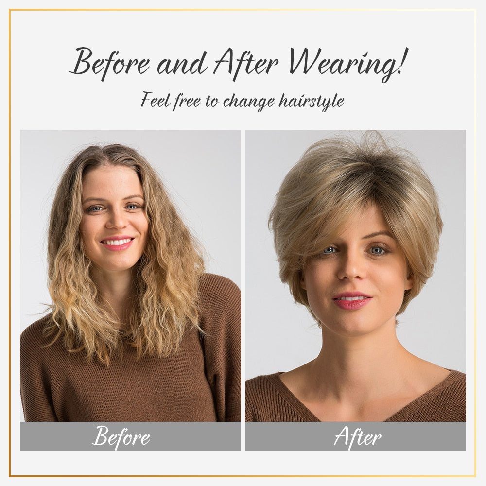 8 Inch Synthetic Pixie Cut Women Wigs with Natural Bang Fluffy Straight 50% Human Hair Light Brown Short Hair Wig