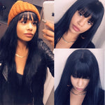 Beautiful-Long-Straight-Lace-Front-Human-Hair-Wigs-With-Bangs-For-Black-Woman-Brazilian-Remy-13X6