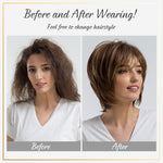 Fluffy Natural Bangs Wigs Highlight 10 Inch Brown Multi-layer Hair Wigs For Women Heat Resistant Synthetic Fiber