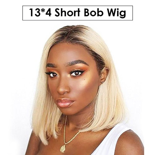 Blonde-Lace-Front-Wig-Brazilian-Virgin-Hair-Lace-Front-Bob-Human-Hair-Wigs-For-Black-Women-1B 613