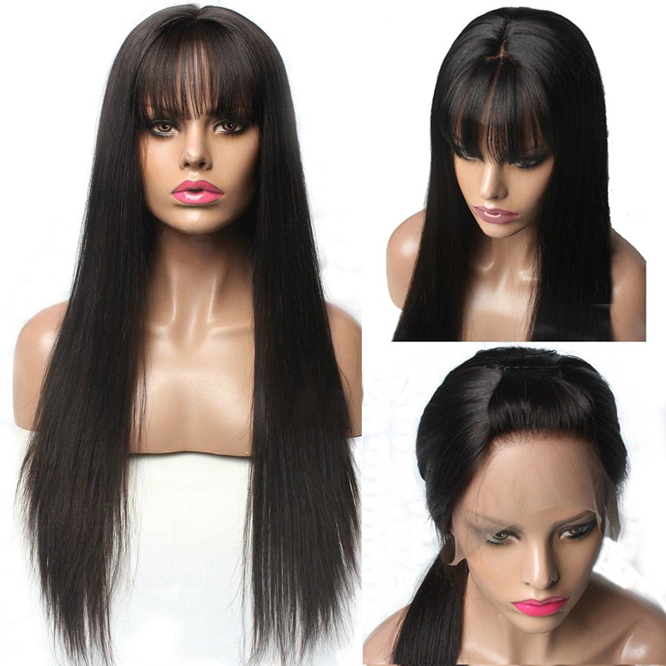 Lace-Front-Human-Hair-Wigs-With-Bangs-For-Black-Woman-Brazilian-Remy-13X6