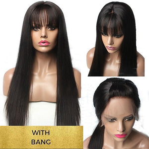 Lace Front Human Hair Wigs With Bang For Black Woman Brazilian Remy 13X6 Lace Front Wigs Pre Plucked With baby Hair