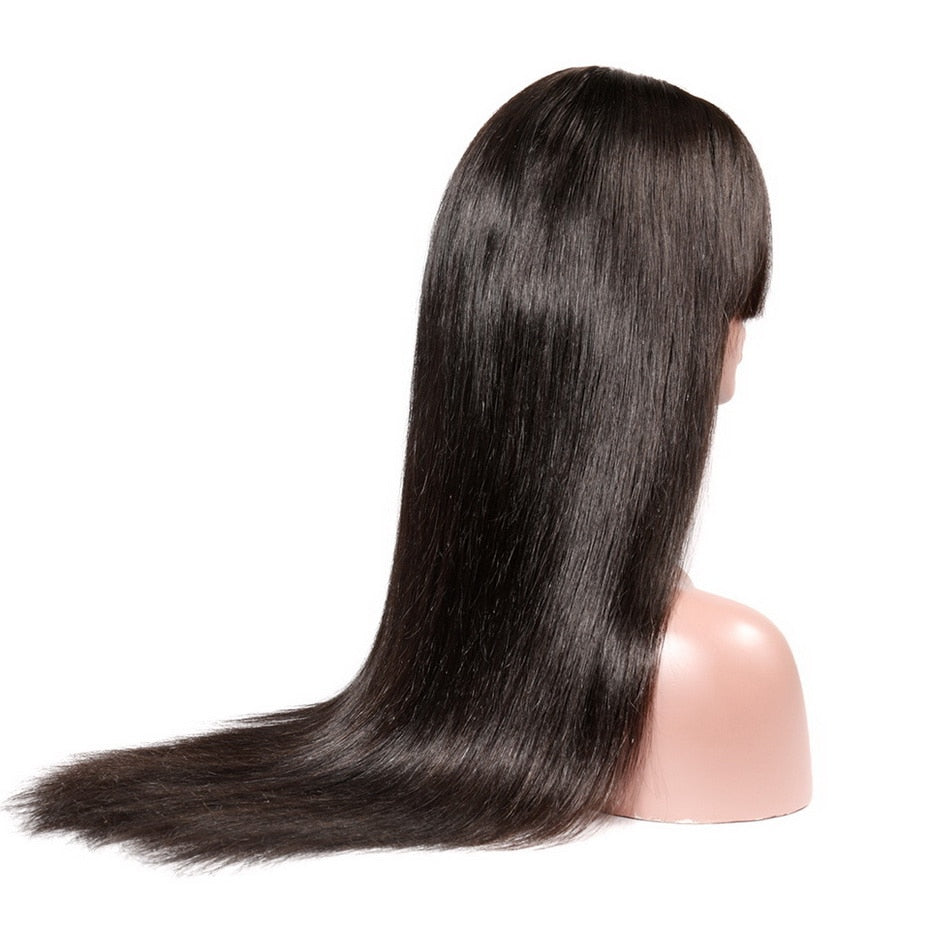 "8""-26"" Straight Lace Front Wig With Bangs 13*4 Natural Color Brazilian Remy Human Hair Wigs For Black Women"