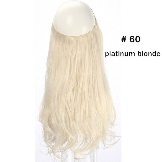 "18"" 120g Ombre Bayalage Heat-Friendly Synthetic Hair Natural Wave Halo Hair Extensions Flip Crown Extensions Grey Pink"