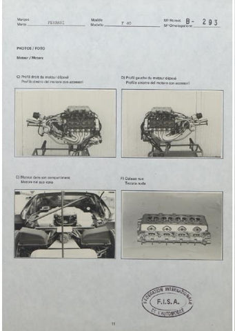 Free FIA Homologation Database - Ferrari F40 homologation engine bay and turbo charger