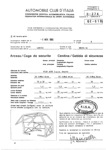 Free FIA Homologation Database - Lancia Delta S4 Roll Cage and Space Frame dimensions