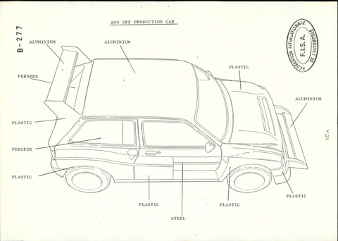 Free FIA Homologation Database - MG Metro 6R4 Materials Used in construction