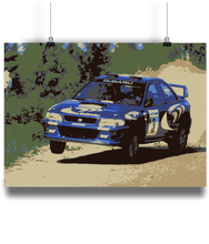 Load image into Gallery viewer, Subaru Impreza driven by Colin McRae in 1997 over a crest lifting a wheel