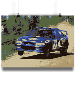 Subaru Impreza driven by Colin McRae in 1997 over a crest lifting a wheel
