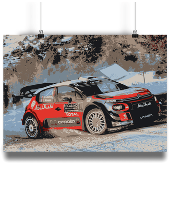 Citroen C3 WRC poster on the Monte Carlo Rally