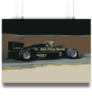 Load image into Gallery viewer, Aytron Senna driving the Lotus Renault 98T fine art postrt