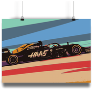 Load image into Gallery viewer, HAAS VF-19 F1 Car Fine Art Motorsport Poster - Miles & Myles