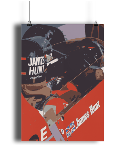 James Hunt Motorsport Art Poster while in a McLaren