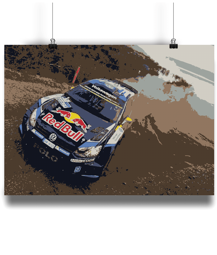 Fine art style poster of the VW Polo WRC car driven by Sebastien Ogier